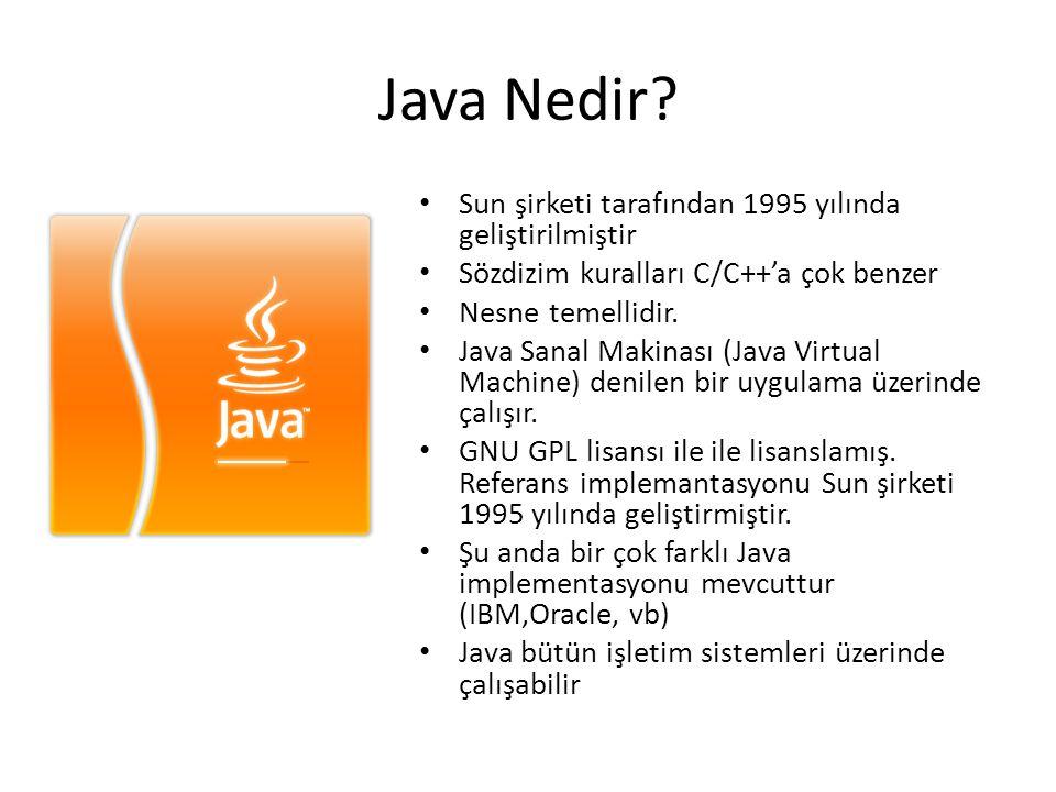 Java Nedir? • Sun şirketi tarafından 1995 yılında geliştirilmiştir • Sözdizim kuralları C/C++'a çok benzer • Nesne temellidir. • Java Sanal Makinası (