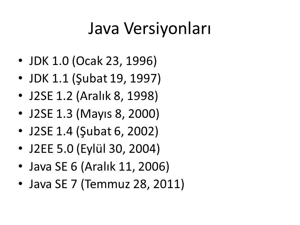 Java Versiyonları • JDK 1.0 (Ocak 23, 1996) • JDK 1.1 (Şubat 19, 1997) • J2SE 1.2 (Aralık 8, 1998) • J2SE 1.3 (Mayıs 8, 2000) • J2SE 1.4 (Şubat 6, 200