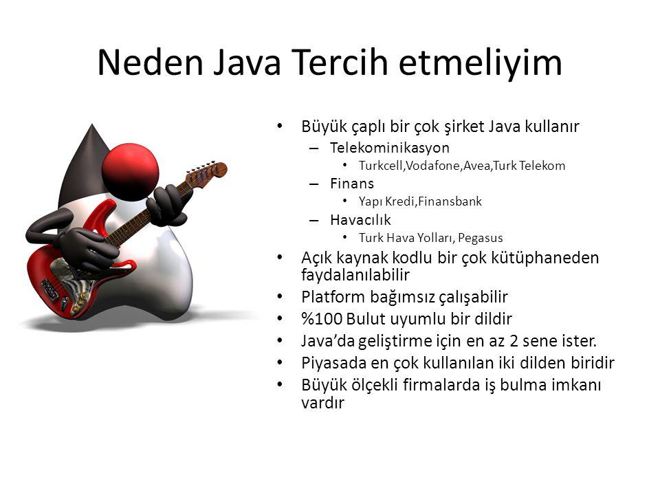 Neden Java Tercih etmeliyim • Büyük çaplı bir çok şirket Java kullanır – Telekominikasyon • Turkcell,Vodafone,Avea,Turk Telekom – Finans • Yapı Kredi,