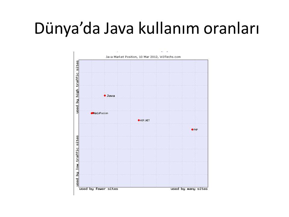 Dünya'da Java kullanım oranları