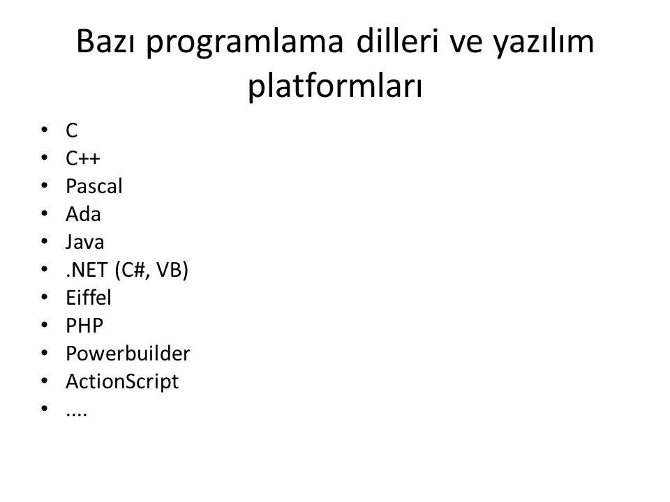 Bazı programlama dilleri ve yazılım platformları • C • C++ • Pascal • Ada • Java •.NET (C#, VB) • Eiffel • PHP • Powerbuilder • ActionScript •....