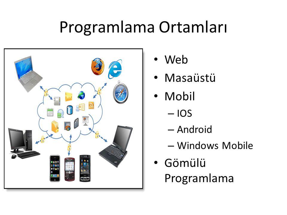Programlama Ortamları • Web • Masaüstü • Mobil – IOS – Android – Windows Mobile • Gömülü Programlama