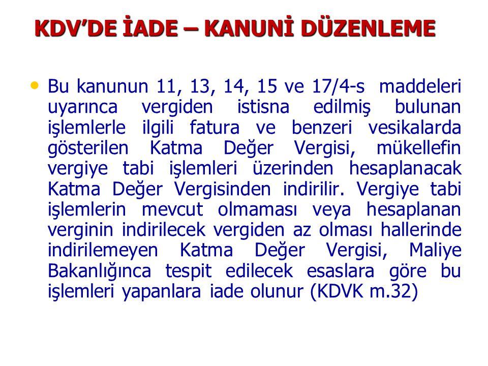 KDV'DE İADE – KANUNİ DÜZENLEME • • Bu kanunun 11, 13, 14, 15 ve 17/4-s maddeleri uyarınca vergiden istisna edilmiş bulunan işlemlerle ilgili fatura ve