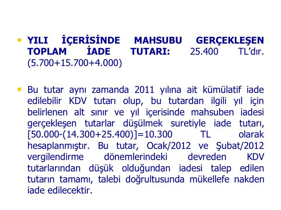• • YILI İÇERİSİNDE MAHSUBU GERÇEKLEŞEN TOPLAM İADE TUTARI: 25.400 TL'dır. (5.700+15.700+4.000) • • Bu tutar aynı zamanda 2011 yılına ait kümülatif ia