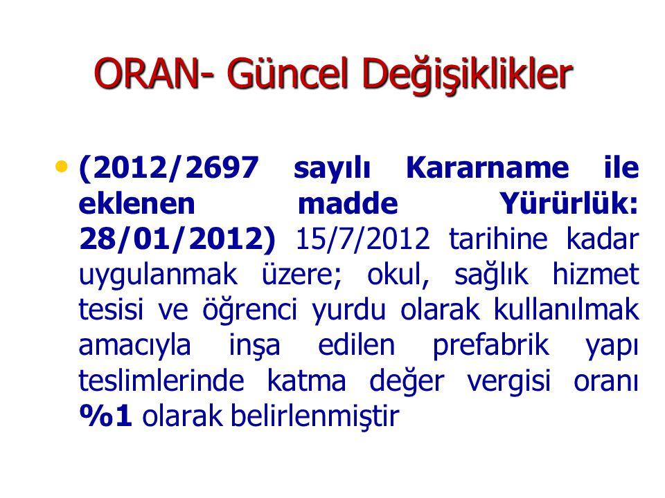 ORAN- Güncel Değişiklikler • • (2012/2697 sayılı Kararname ile eklenen madde Yürürlük: 28/01/2012) 15/7/2012 tarihine kadar uygulanmak üzere; okul, sa