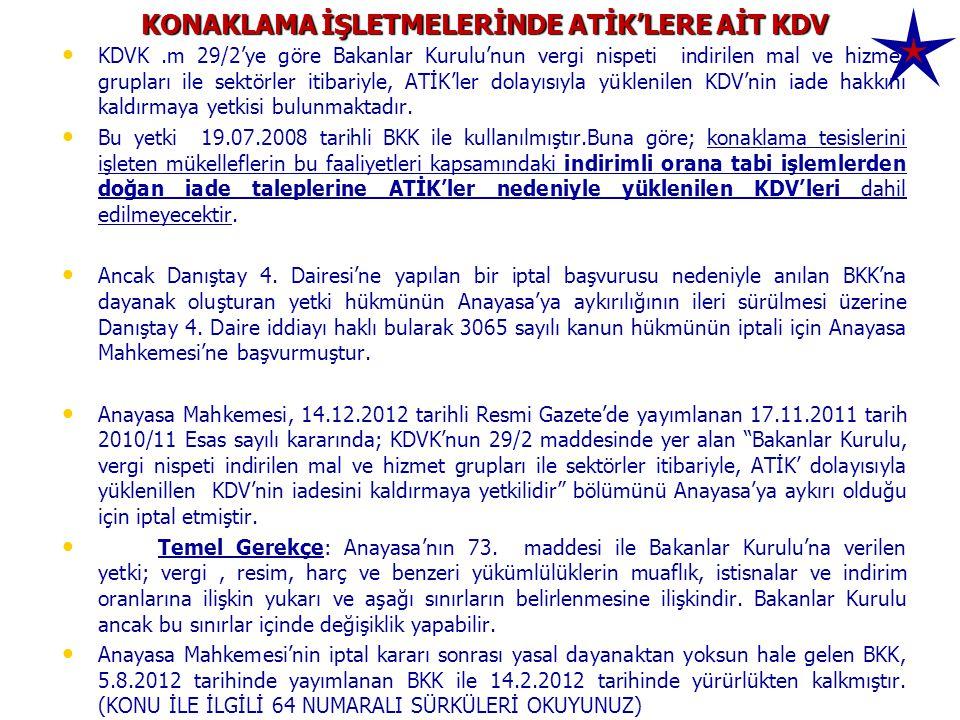 KONAKLAMA İŞLETMELERİNDE ATİK'LERE AİT KDV • • KDVK.m 29/2'ye göre Bakanlar Kurulu'nun vergi nispeti indirilen mal ve hizmet grupları ile sektörler it