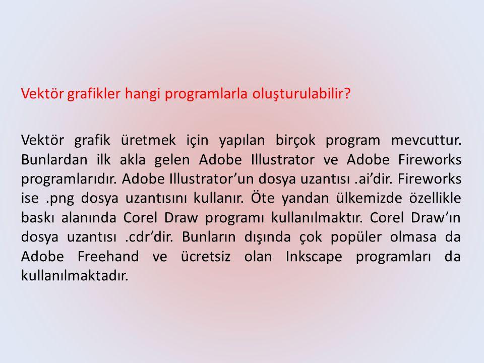Vektör grafikler hangi programlarla oluşturulabilir? Vektör grafik üretmek için yapılan birçok program mevcuttur. Bunlardan ilk akla gelen Adobe Illus