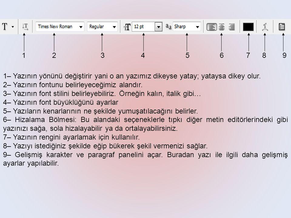 1– Yazının yönünü değiştirir yani o an yazımız dikeyse yatay; yataysa dikey olur. 2– Yazının fontunu belirleyeceğimiz alandır. 3– Yazının font stilini