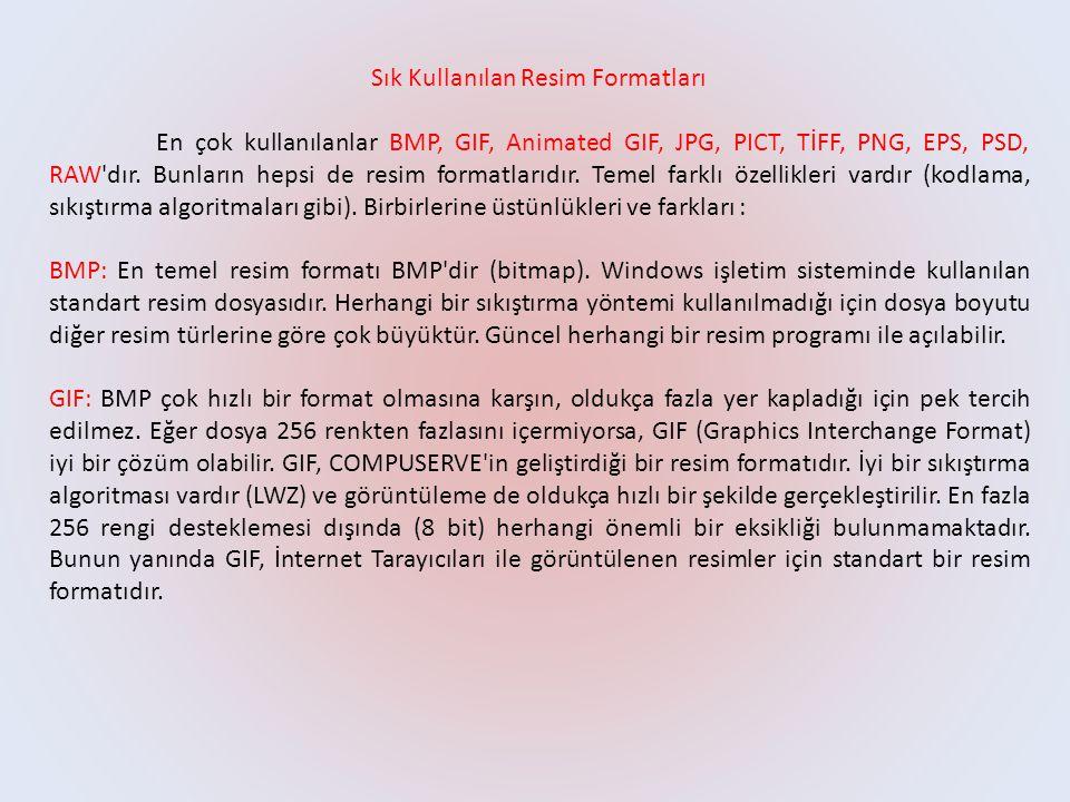 Sık Kullanılan Resim Formatları En çok kullanılanlar BMP, GIF, Animated GIF, JPG, PICT, TİFF, PNG, EPS, PSD, RAW'dır. Bunların hepsi de resim formatla