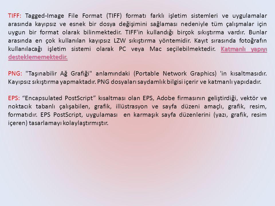 Katmanlı yapıyı desteklememektedir. TIFF: Tagged-Image File Format (TIFF) formatı farklı işletim sistemleri ve uygulamalar arasında kayıpsız ve esnek