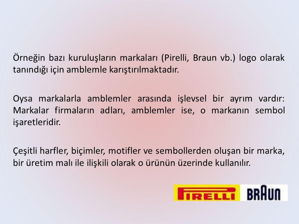 Örneğin bazı kuruluşların markaları (Pirelli, Braun vb.) logo olarak tanındığı için amblemle karıştırılmaktadır. Oysa markalarla amblemler arasında iş
