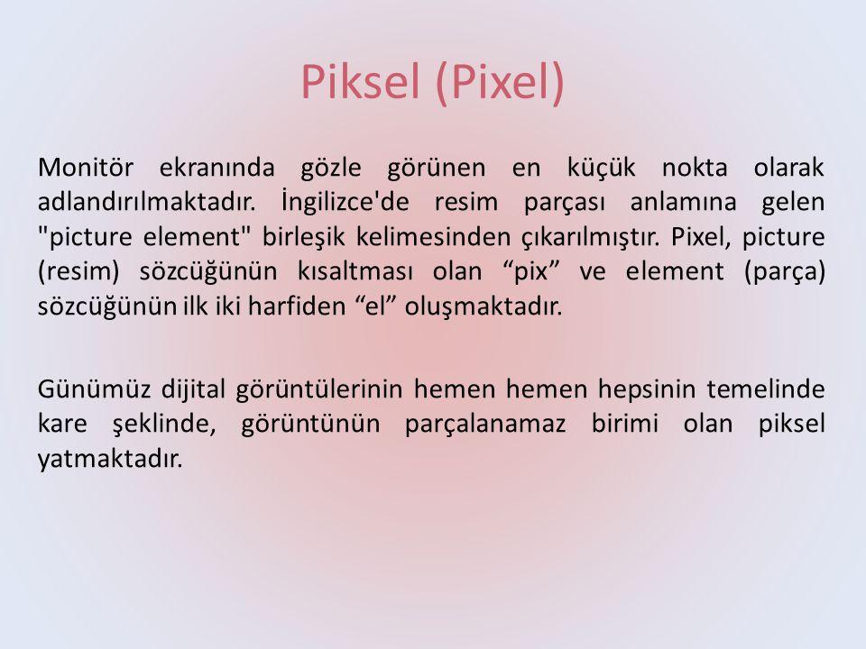 Piksel (Pixel) Monitör ekranında gözle görünen en küçük nokta olarak adlandırılmaktadır. İngilizce'de resim parçası anlamına gelen