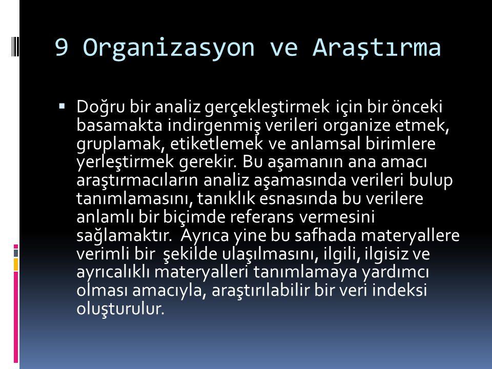 9 Organizasyon ve Araştırma  Doğru bir analiz gerçekleştirmek için bir önceki basamakta indirgenmiş verileri organize etmek, gruplamak, etiketlemek ve anlamsal birimlere yerleştirmek gerekir.