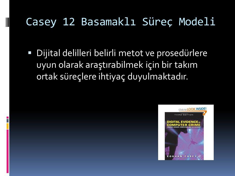 Casey 12 Basamaklı Süreç Modeli  Dijital delilleri belirli metot ve prosedürlere uyun olarak araştırabilmek için bir takım ortak süreçlere ihtiyaç duyulmaktadır.