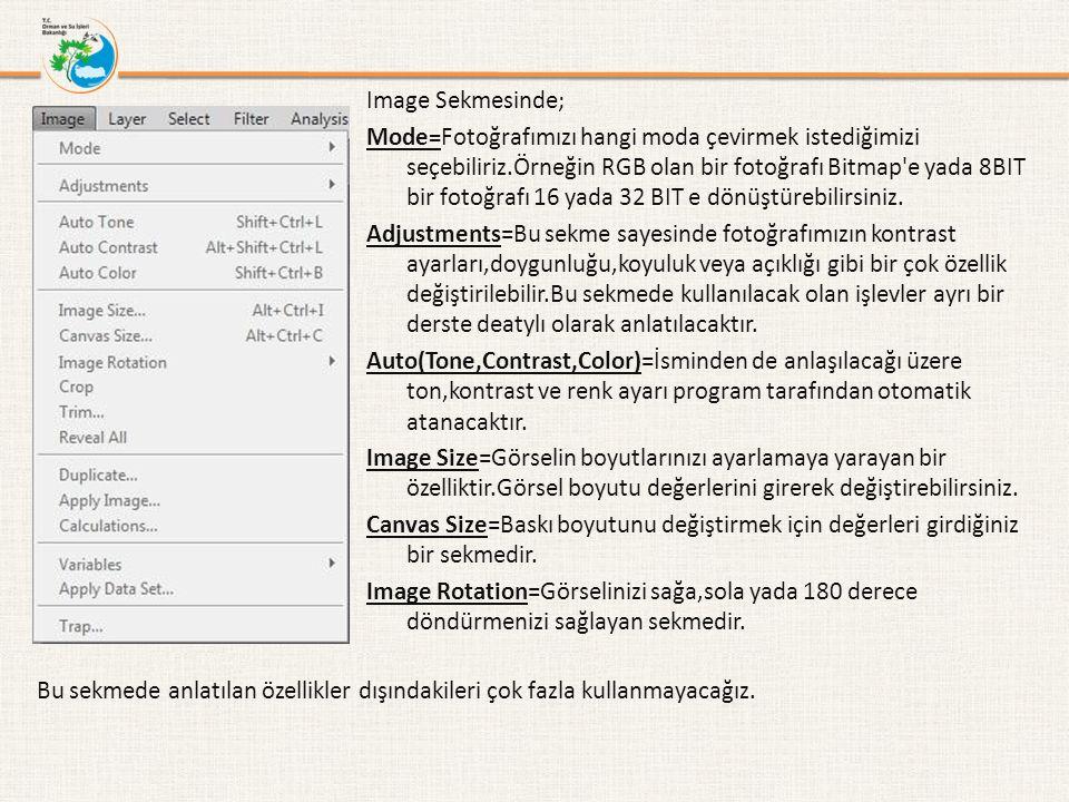 Image Sekmesinde; Mode=Fotoğrafımızı hangi moda çevirmek istediğimizi seçebiliriz.Örneğin RGB olan bir fotoğrafı Bitmap e yada 8BIT bir fotoğrafı 16 yada 32 BIT e dönüştürebilirsiniz.