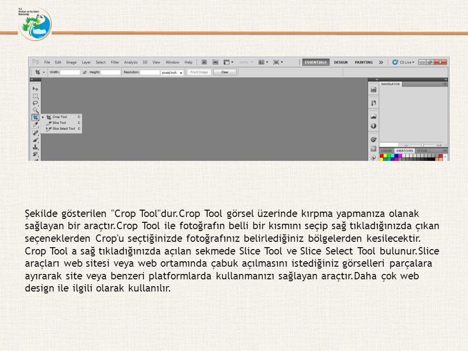 Şekilde gösterilen Crop Tool dur.Crop Tool görsel üzerinde kırpma yapmanıza olanak sağlayan bir araçtır.Crop Tool ile fotoğrafın belli bir kısmını seçip sağ tıkladığınızda çıkan seçeneklerden Crop u seçtiğinizde fotoğrafınız belirlediğiniz bölgelerden kesilecektir.