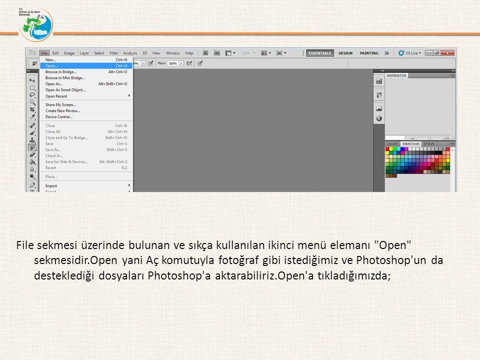 karşımıza açılan yeni pencereden açmak istediğimiz dosyayı bulup Aç buttonuna tıklayarak Photoshop a aktarabiliriz.