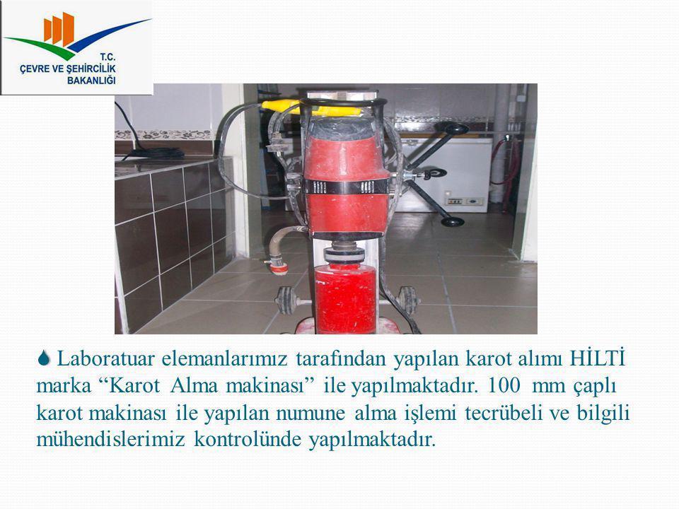 """ Laboratuar elemanlarımız tarafından yapılan karot alımı HİLTİ marka """"Karot Alma makinası"""" ile yapılmaktadır. 100 mm çaplı karot makinası ile yapıla"""