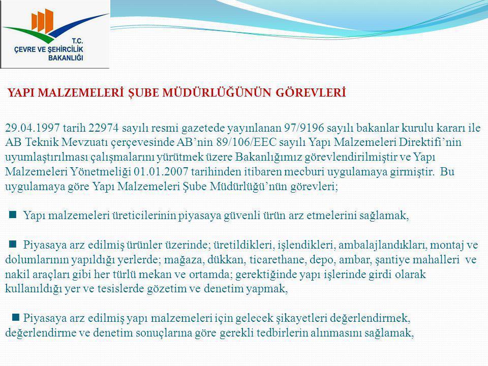 29.04.1997 tarih 22974 sayılı resmi gazetede yayınlanan 97/9196 sayılı bakanlar kurulu kararı ile AB Teknik Mevzuatı çerçevesinde AB'nin 89/106/EEC sa
