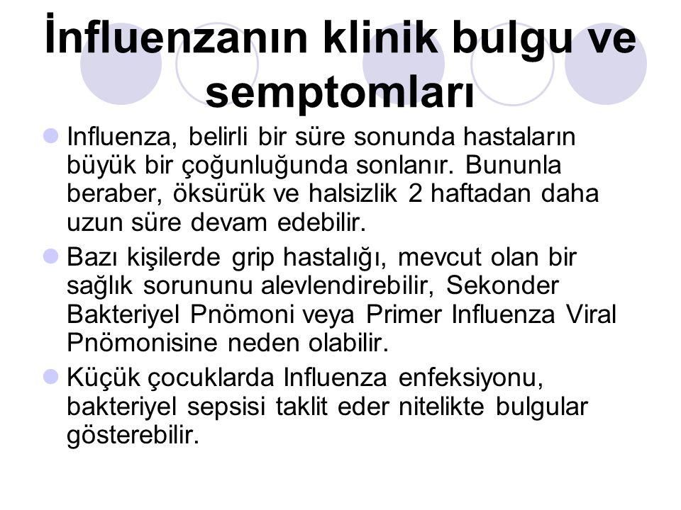 İnfluenzanın klinik bulgu ve semptomları  Influenza, belirli bir süre sonunda hastaların büyük bir çoğunluğunda sonlanır.