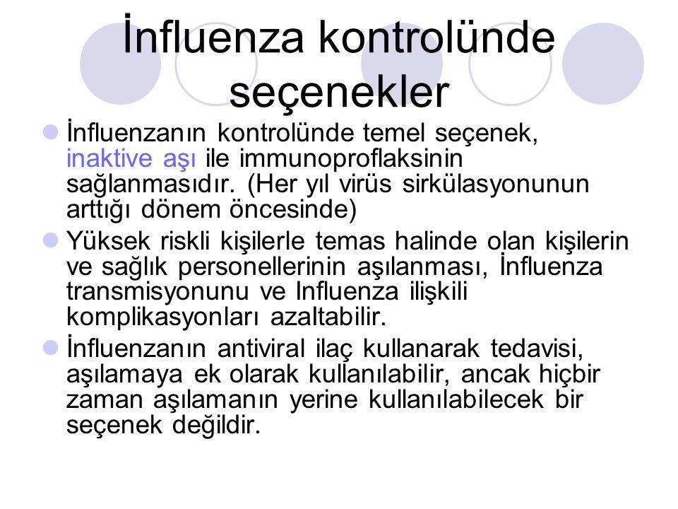 İnfluenza kontrolünde seçenekler  İnfluenzanın kontrolünde temel seçenek, inaktive aşı ile immunoproflaksinin sağlanmasıdır.