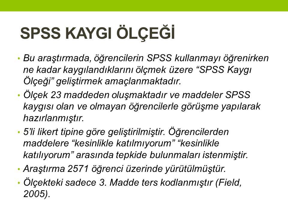 SPSS KAYGI ÖLÇEĞİ • Bu araştırmada, öğrencilerin SPSS kullanmayı öğrenirken ne kadar kaygılandıklarını ölçmek üzere SPSS Kaygı Ölçeği geliştirmek amaçlanmaktadır.