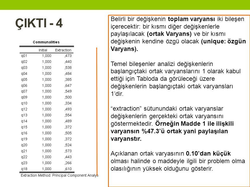 ÇIKTI - 4 Belirli bir değişkenin toplam varyansı iki bileşen içerecektir: bir kısmı diğer değişkenlerle paylaşılacak (ortak Varyans) ve bir kısmı deği