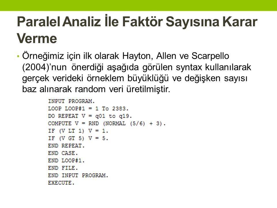 Paralel Analiz İle Faktör Sayısına Karar Verme • Örneğimiz için ilk olarak Hayton, Allen ve Scarpello (2004)'nun önerdiği aşağıda görülen syntax kulla
