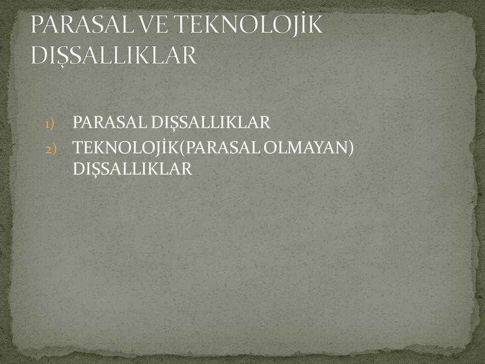 1) PARASAL DIŞSALLIKLAR 2) TEKNOLOJİK(PARASAL OLMAYAN) DIŞSALLIKLAR