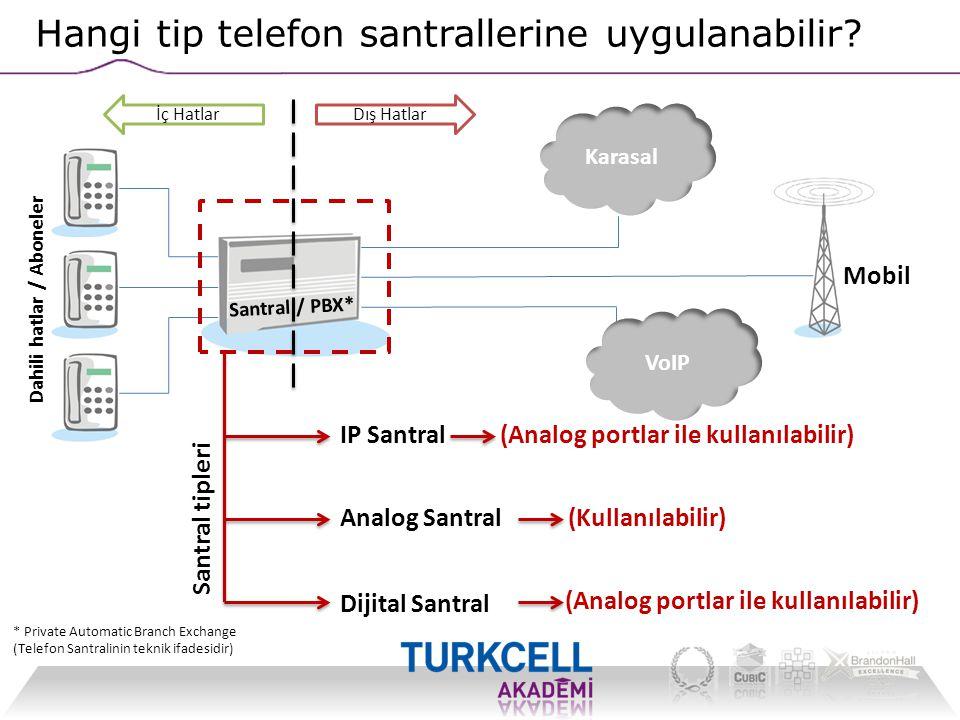 Santral / PBX* Dahili hatlar / Aboneler Hangi tip telefon santrallerine uygulanabilir? İç HatlarDış Hatlar Karasal Santral tipleri Analog Santral Diji