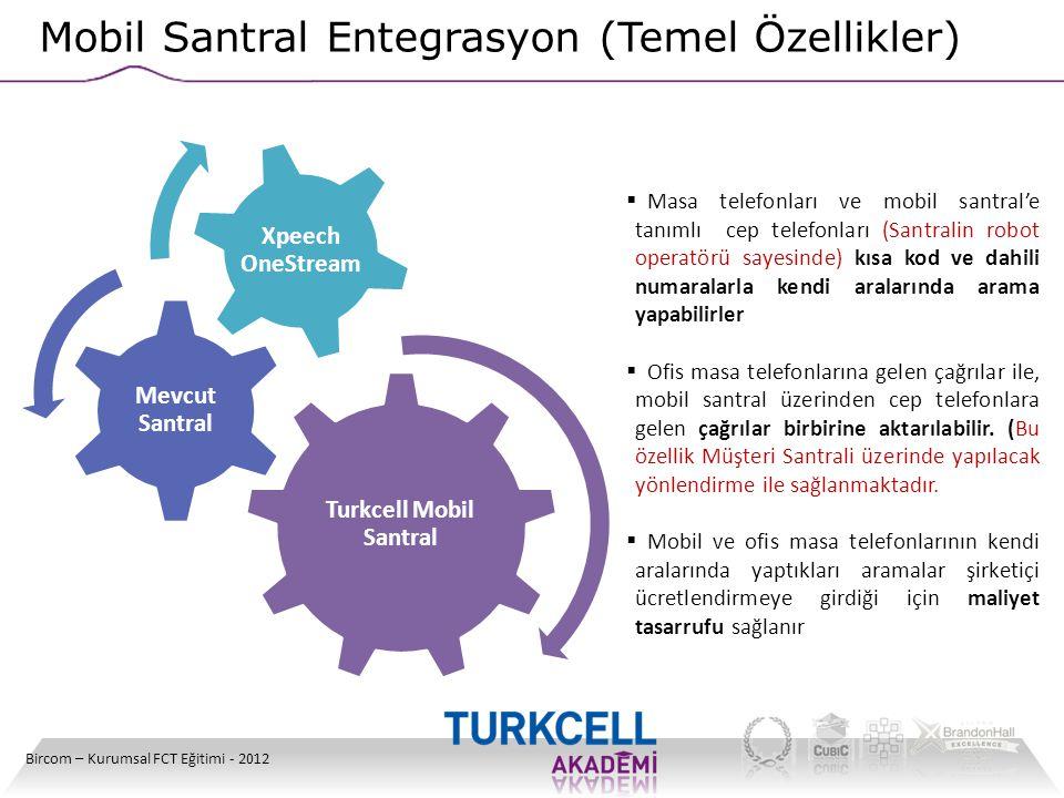 Bircom – Kurumsal FCT Eğitimi - 2012 Mobil Santral Entegrasyon (Temel Özellikler) Turkcell Mobil Santral Mevcut Santral Xpeech OneStream  Masa telefo