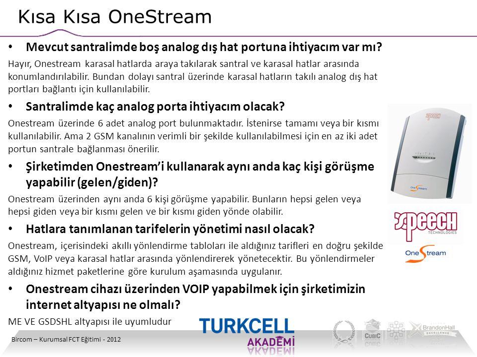 Kısa Kısa OneStream Bircom – Kurumsal FCT Eğitimi - 2012 • Mevcut santralimde boş analog dış hat portuna ihtiyacım var mı? Hayır, Onestream karasal ha