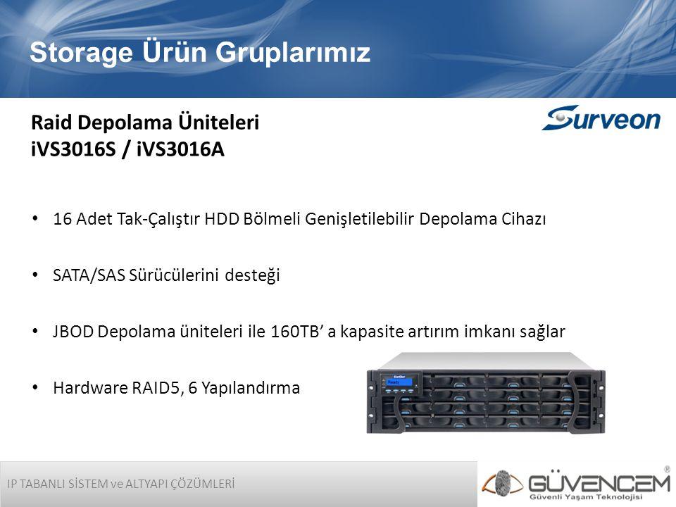 IP TABANLI SİSTEM ve ALTYAPI ÇÖZÜMLERİ Storage Ürün Gruplarımız Raid Depolama Üniteleri iVS3016S / iVS3016A • 16 Adet Tak-Çalıştır HDD Bölmeli Genişle