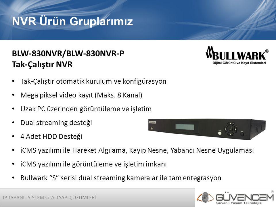 IP TABANLI SİSTEM ve ALTYAPI ÇÖZÜMLERİ NVR Ürün Gruplarımız BLW-830NVR/BLW-830NVR-P Tak-Çalıştır NVR • Tak-Çalıştır otomatik kurulum ve konfigürasyon