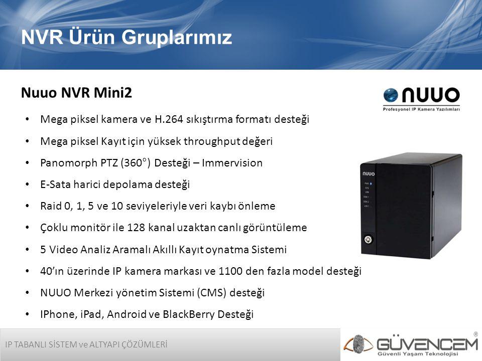 IP TABANLI SİSTEM ve ALTYAPI ÇÖZÜMLERİ NVR Ürün Gruplarımız Nuuo NVR Mini2 • Mega piksel kamera ve H.264 sıkıştırma formatı desteği • Mega piksel Kayı