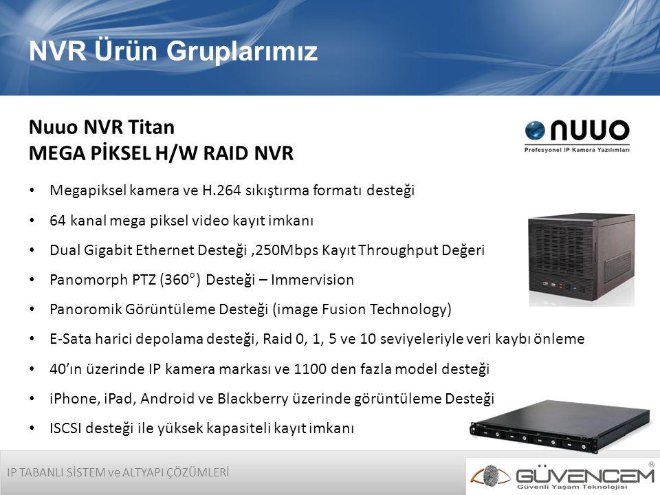 IP TABANLI SİSTEM ve ALTYAPI ÇÖZÜMLERİ NVR Ürün Gruplarımız Nuuo NVR Titan MEGA PİKSEL H/W RAID NVR • Megapiksel kamera ve H.264 sıkıştırma formatı de