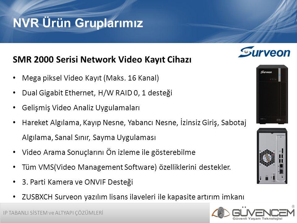 IP TABANLI SİSTEM ve ALTYAPI ÇÖZÜMLERİ NVR Ürün Gruplarımız SMR 2000 Serisi Network Video Kayıt Cihazı • Mega piksel Video Kayıt (Maks. 16 Kanal) • Du