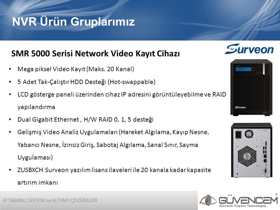 IP TABANLI SİSTEM ve ALTYAPI ÇÖZÜMLERİ NVR Ürün Gruplarımız SMR 5000 Serisi Network Video Kayıt Cihazı • Mega piksel Video Kayıt (Maks. 20 Kanal) • 5