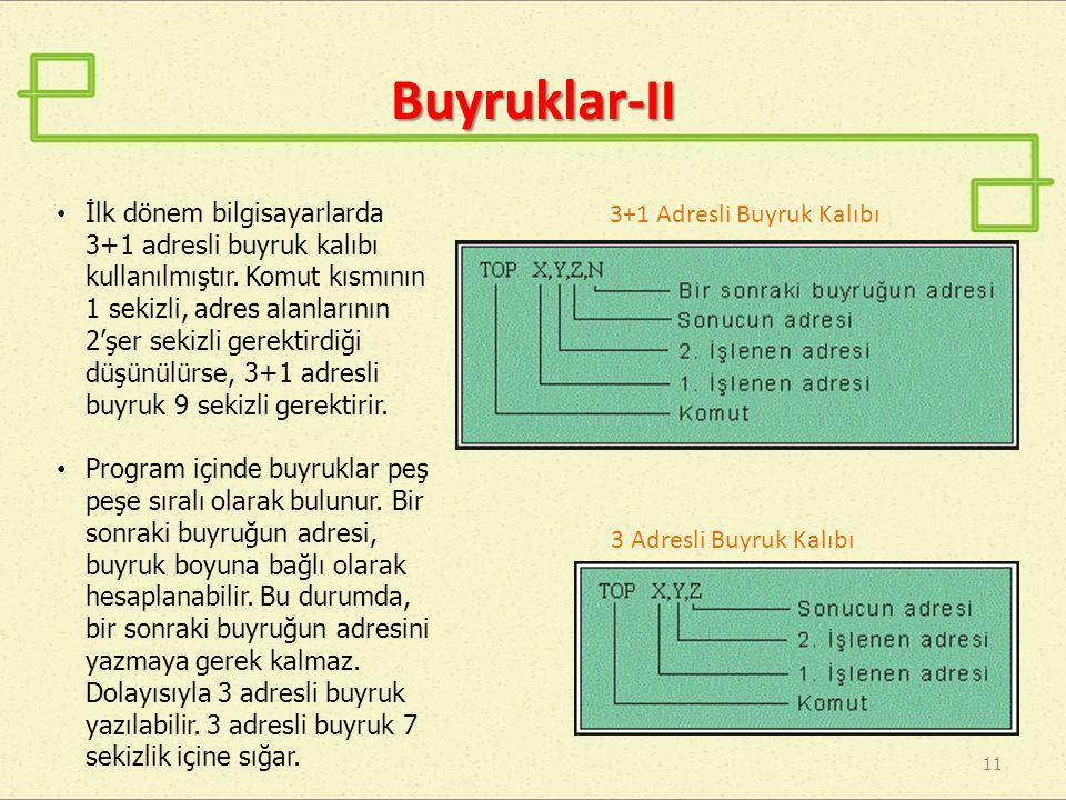 Buyruklar-II 3+1 Adresli Buyruk Kalıbı 11 3 Adresli Buyruk Kalıbı • İlk dönem bilgisayarlarda 3+1 adresli buyruk kalıbı kullanılmıştır. Komut kısmının