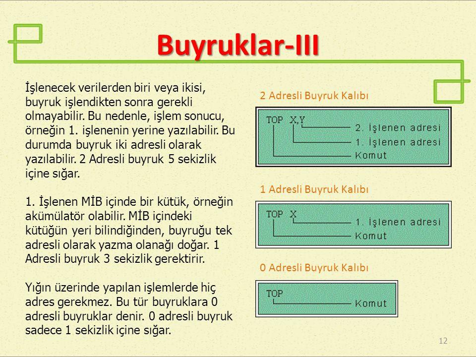 Buyruklar-III 12 1 Adresli Buyruk Kalıbı 0 Adresli Buyruk Kalıbı 2 Adresli Buyruk Kalıbı İşlenecek verilerden biri veya ikisi, buyruk işlendikten sonr