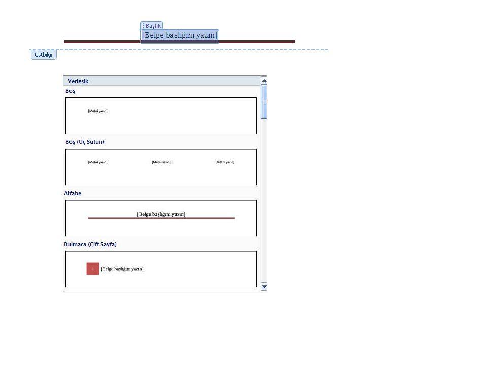 Gerekli düzenlemeler yapıldıktan sonra klavyeden ESC tuşuna basıldığında veya fare kullanılarak belgenin sayfa sınırları içerisine iki kez tıklandığında üstbilgi ekleme işlemi tamamlanmış olacaktır.