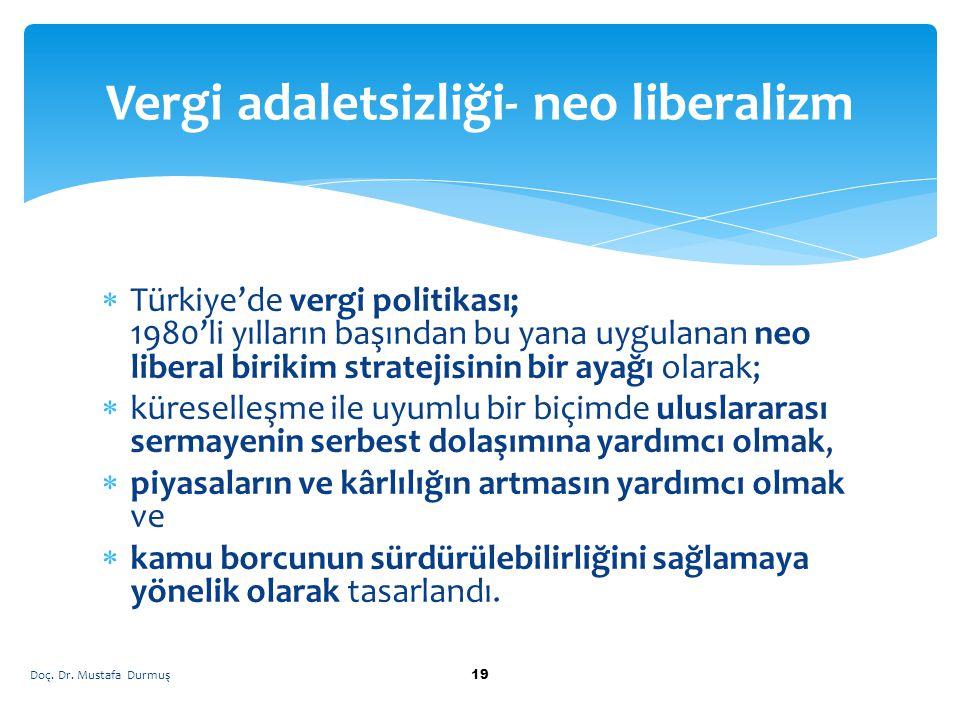  Türkiye'de vergi politikası; 1980'li yılların başından bu yana uygulanan neo liberal birikim stratejisinin bir ayağı olarak;  küreselleşme ile uyum