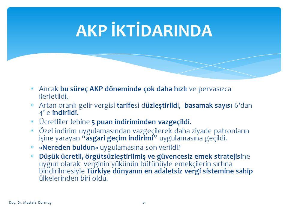  Ancak bu süreç AKP döneminde çok daha hızlı ve pervasızca ilerletildi.  Artan oranlı gelir vergisi tarifesi düzleştirildi, basamak sayısı 6'dan 4'