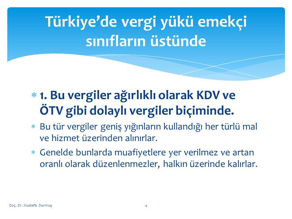  1. Bu vergiler ağırlıklı olarak KDV ve ÖTV gibi dolaylı vergiler biçiminde.  Bu tür vergiler geniş yığınların kullandığı her türlü mal ve hizmet üz