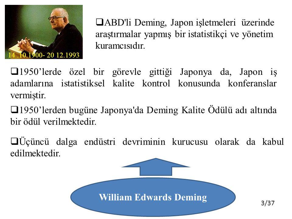 3/37 14.10.1900- 20.12.1993. William Edwards Deming  ABD'li Deming, Japon işletmeleri üzerinde araştırmalar yapmış bir istatistikçi ve yönetim kuramc