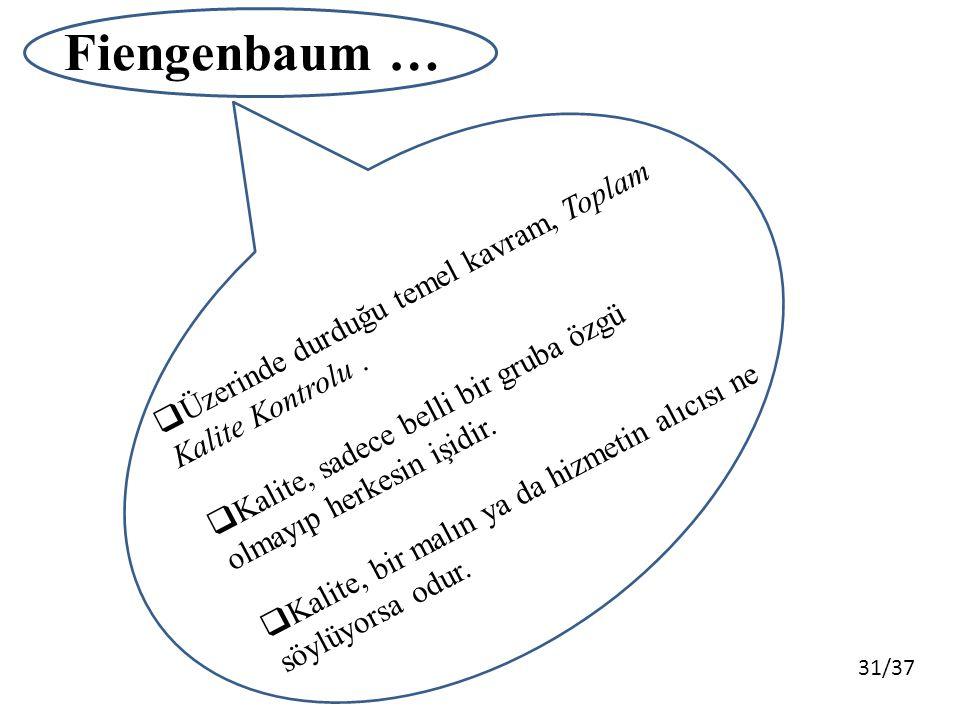 31/37 Fiengenbaum …  Üzerinde durduğu temel kavram, Toplam Kalite Kontrolu.  Kalite, sadece belli bir gruba özgü olmayıp herkesin işidir.  Kalite,