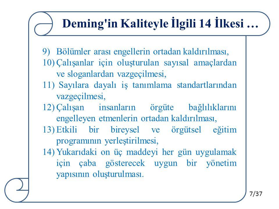 7/37 Deming'in Kaliteyle İlgili 14 İlkesi … 9)Bölümler arası engellerin ortadan kaldırılması, 10)Çalışanlar için oluşturulan sayısal amaçlardan ve slo