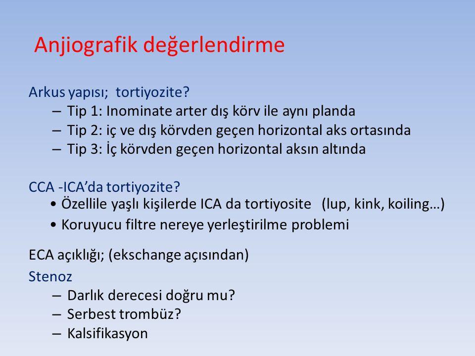 Anjiografik değerlendirme Arkus yapısı; tortiyozite? – Tip 1: Inominate arter dış körv ile aynı planda – Tip 2: iç ve dış körvden geçen horizontal aks