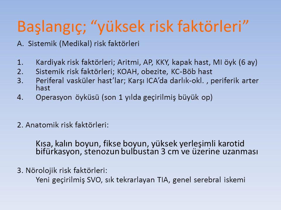 """Başlangıç; """"yüksek risk faktörleri"""" A. Sistemik (Medikal) risk faktörleri 1.Kardiyak risk faktörleri; Aritmi, AP, KKY, kapak hast, MI öyk (6 ay) 2.Sis"""