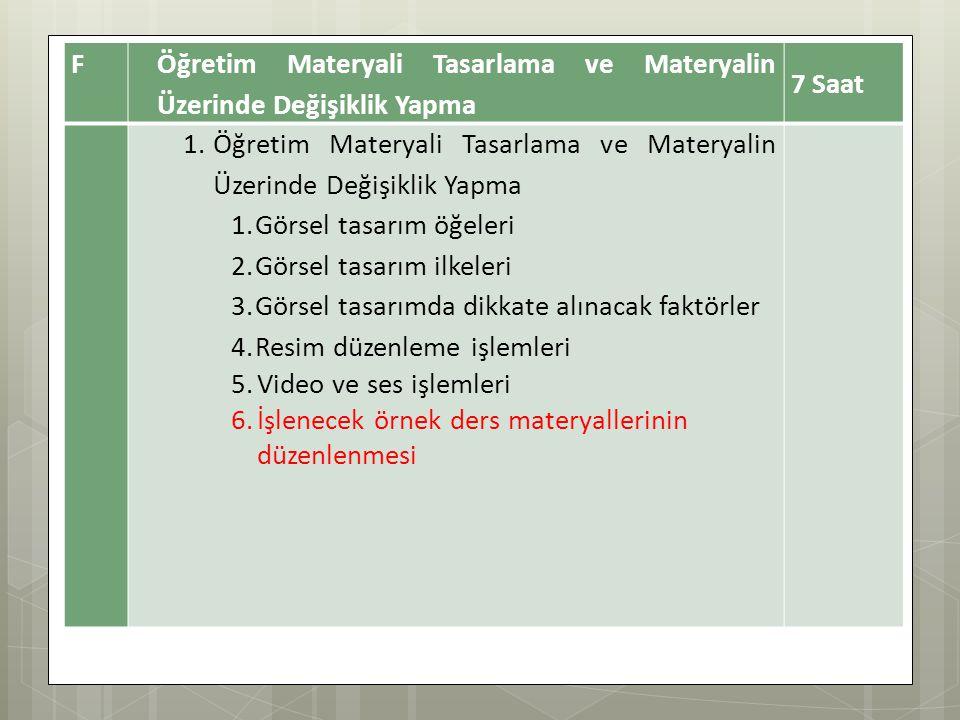 F Öğretim Materyali Tasarlama ve Materyalin Üzerinde Değişiklik Yapma 7 Saat 1.Öğretim Materyali Tasarlama ve Materyalin Üzerinde Değişiklik Yapma 1.Görsel tasarım öğeleri 2.Görsel tasarım ilkeleri 3.Görsel tasarımda dikkate alınacak faktörler 4.Resim düzenleme işlemleri 5.Video ve ses işlemleri 6.İşlenecek örnek ders materyallerinin düzenlenmesi